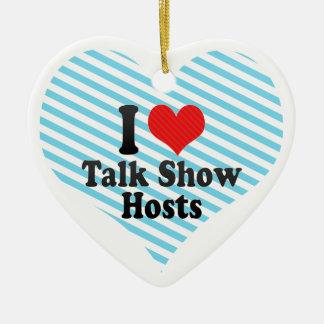 I Love Talk Show Hosts Double-Sided Heart Ceramic Christmas Ornament