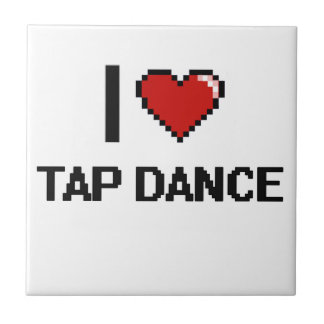 I Love Tap Dance Digital Retro Design Small Square Tile
