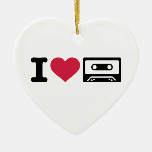 I love tape Double-Sided heart ceramic christmas ornament