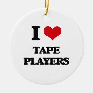 I love Tape Players Double-Sided Ceramic Round Christmas Ornament