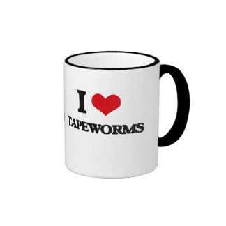 I love Tapeworms Ringer Coffee Mug