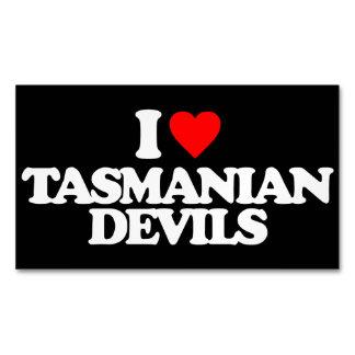 I LOVE TASMANIAN DEVILS BUSINESS CARD MAGNET