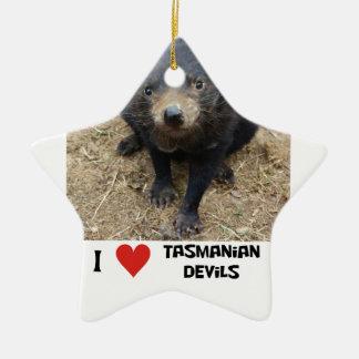 I love Tasmanian devils Ceramic Ornament