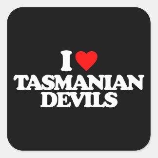 I LOVE TASMANIAN DEVILS SQUARE STICKER