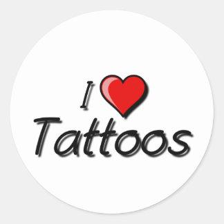 I Love Tattoos Classic Round Sticker