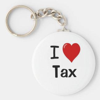 I Love Tax I Heart Tax Basic Round Button Keychain