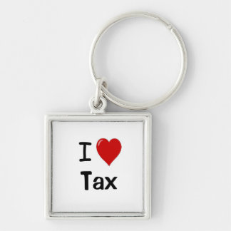 I Love Tax I Heart Tax Keyring Silver-Colored Square Keychain
