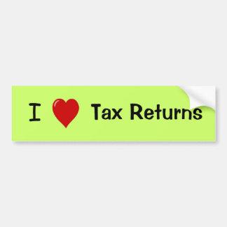 I Love Tax Returns - Tax Preparer Bumper Sticker Car Bumper Sticker