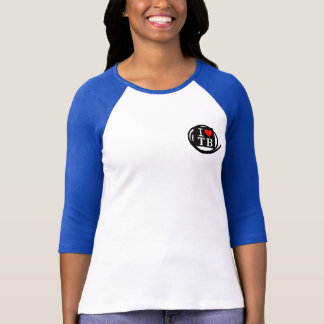 I LOVE TB Ladies 3/4 Sleeve Raglan Fitted (4 Color T-Shirt