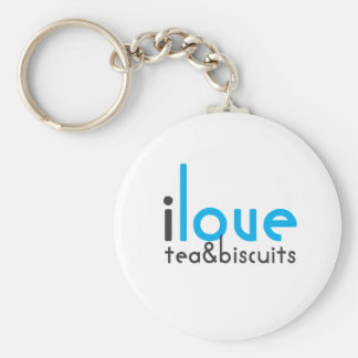I love tea and biscuits design 10 in light blue keychain