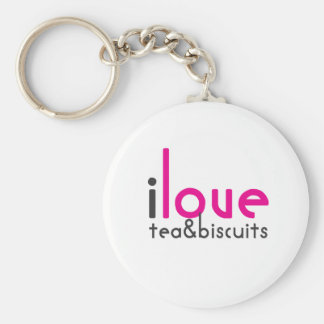 I love tea and biscuits design 10 in Pink Keychain