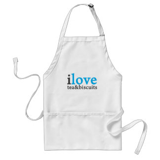 I love tea and biscuits design 11 in light blue adult apron