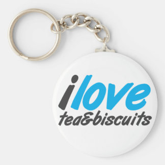 I love tea and biscuits design 12 in light blue keychain