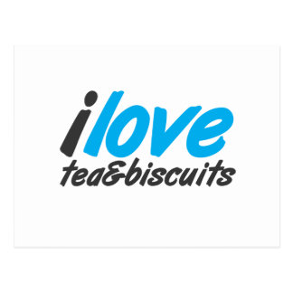 I love tea and biscuits design 12 in light blue post card