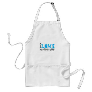 I love tea and biscuits design 13 in light blue adult apron