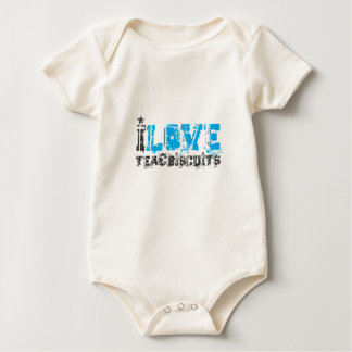 I love tea and biscuits design 13 in light blue baby bodysuit