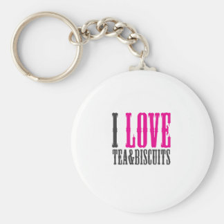 I love tea and biscuits design 1 in Pink Keychain