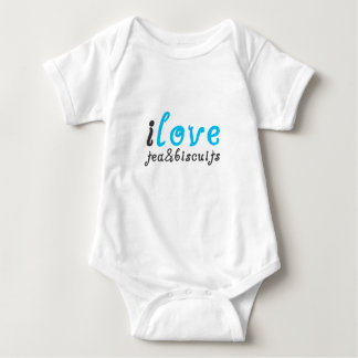 I love tea and biscuits design 3 in light blue baby bodysuit
