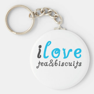 I love tea and biscuits design 3 in light blue keychain