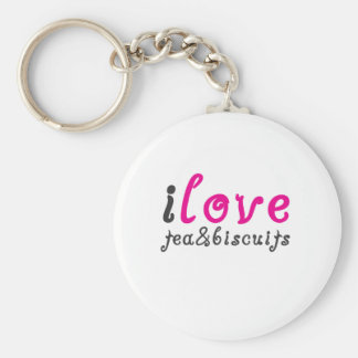I love tea and biscuits design 3 in Pink Keychain