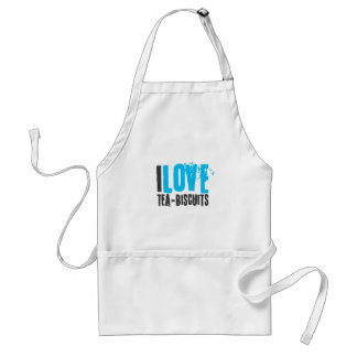 I love tea and biscuits design 4a in light blue adult apron