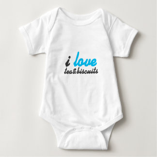 I love tea and biscuits design 6 in light blue baby bodysuit
