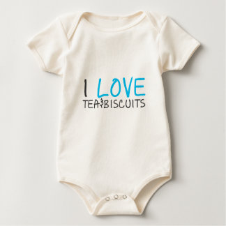 I love tea and biscuits design 7 in light blue baby bodysuit
