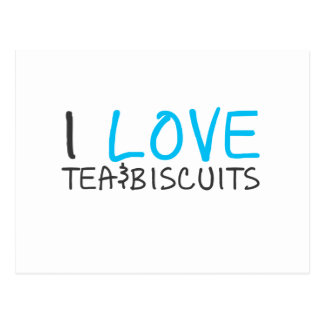 I love tea and biscuits design 7 in light blue post cards
