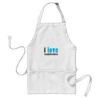 I love tea and biscuits design 8 in light blue adult apron