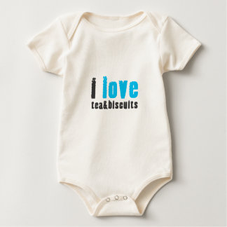 I love tea and biscuits design 8 in light blue baby bodysuit