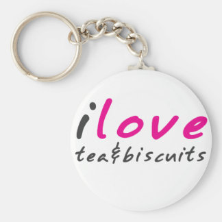 I love tea and biscuits design 9 in Pink Keychain