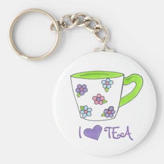 I Love Tea Ceramic Cup Teacup Heart Keychain