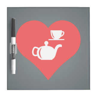 I Love Tea Sets Cool Icon Dry Erase Whiteboard