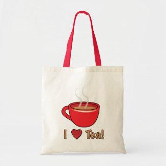 I Love Tea! with Red Teacup Tote Bag