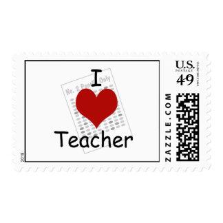 i love teacher postage stamp