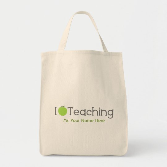 I Love Teaching Green Apple Teacher Tote Bag