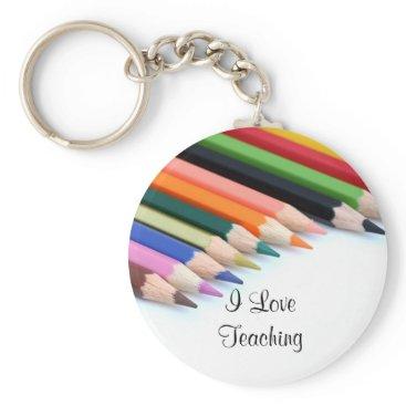 Beach Themed I Love Teaching Keychain