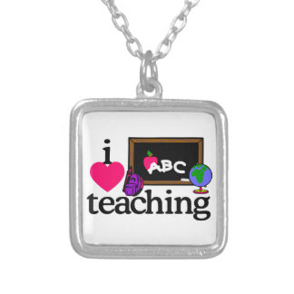 I Love Teaching Silver Plated Necklace
