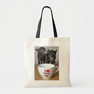 I Love Teacup Pigs Cotton Bag