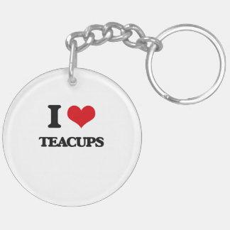 I love Teacups Double-Sided Round Acrylic Keychain