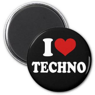 I Love Techno 2 Inch Round Magnet