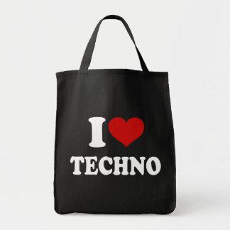 I Love Techno Canvas Bags