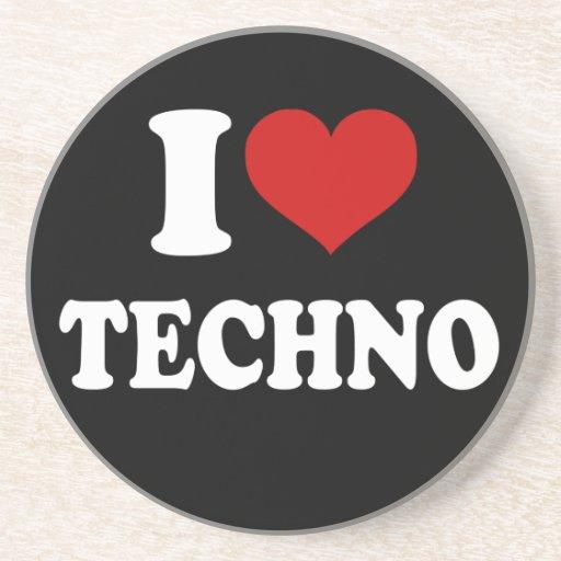 I Love Techno Beverage Coaster