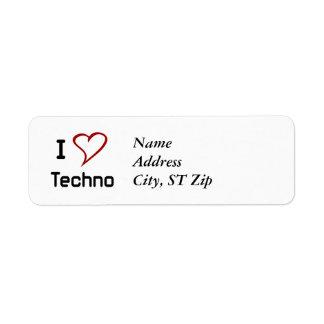 I Love Techno Return Address Label