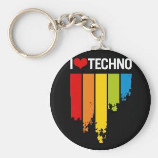 I Love techno music Keychain