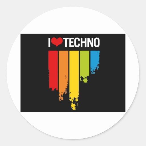 I_Love_Techno_Music Pegatina Redonda