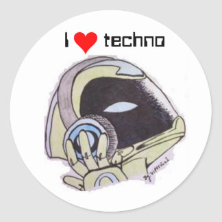 i love techno robot sticker
