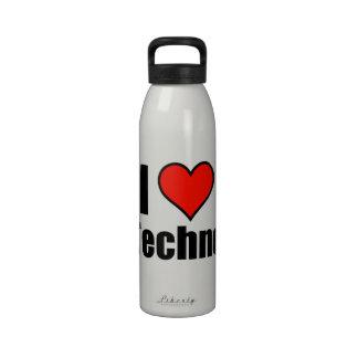 I Love Techno Reusable Water Bottles