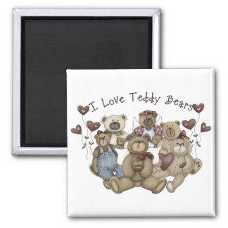 I  Love Teddy Bears Heartsakes 2 Inch Square Magnet