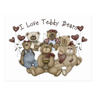 I  Love Teddy Bears Heartsakes Postcard